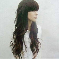 100% Real Hair! New Fashion Long Dark Brown Wavy Wigs Human Hair Full Wig