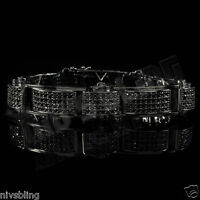 18K Black Gold Gunmetal Iced Out Bling MICROPAVE Simulated Diamond Bracelet