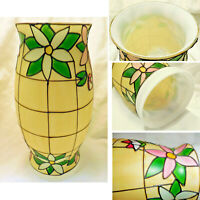 """9 5/8"""" Hand Painted Embossed Stained Glass Style Globe Chimney Shade 4"""" Fitter"""