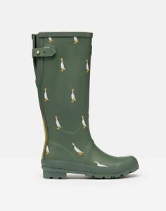Joules Womens Printed Wellies With Adjustable Back Gusset - Green Duck - Adult 9