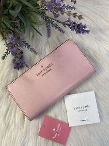 New Kate Spade Staci Large Slim Bifold wallet Pink Light Crepe Gift $149