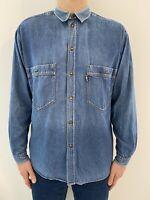 Moschino Jeans Milano Italy Vintage 90s Denim Blue Shirt Size-  XL