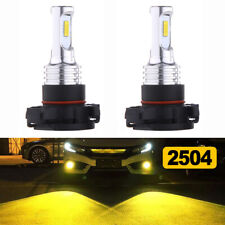 Front Fog Light Bulb 3000K Yellow 2504 70W LED Pair For Dodge Charger 2010-2014