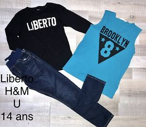 LIBERTO U H&M 14 Ans Garçon : 2 T SHIRTS  + JEAN BLEU DENIM  TBE
