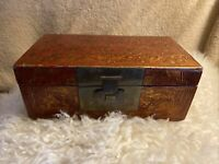 Antique Chinese Lacquered Wood Storage Trunk Document Box Jewelry Box w/Brass