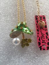 Betsey Johnson Mushroom crystal GREEN/GOLD chain Sweater chain necklace-BJ47023
