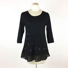 LOGO LORI GOLDSTEIN Black Tunic Top Sz S Embroidered Floral Beaded Sheer Hem