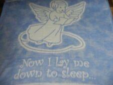 VTG.BIEDERLACK.NOW I LAY ME DOWN TO SLEEP.ANGEL.BABY BLANKET.BLUE.CRIB.