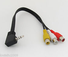 1pc Audio Video Cable Angle 3.5mm Stereo Plug to 3 RCA Female Jack 10cm NEW