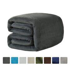 Fleece Blanket Queen Size 330 GSM Soft 90 by 90 inch Gray