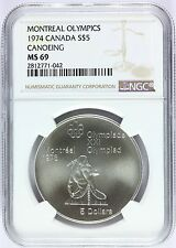 1974 Canada Montreal Olympics Canoeing Silver $5 Coin - NGC MS 69 - KM# 92