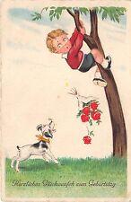 BG8814 child dog roses comic geburtstag birthday greetings germany