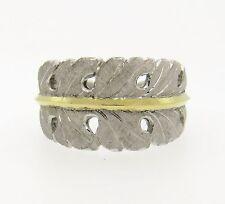 Buccellati Silver 18K Gold Leaf Motif Split Shank Ring $2670