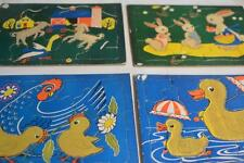 Lot 5 Vintage Cardboard Pre-school Childrens PUZZLE Built-Rite Sta-N-Place Farm