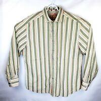 Robert Graham Mens 2XL Striped Floral Flip Cuff Long Sleeve Button Down Shirt