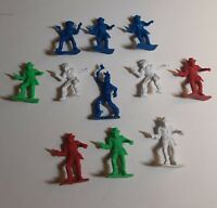 Vintage Cowboys and Indian Plastic Toy Figures 2 Inch Hong Kong Red White Blue G