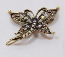 Bejeweled Dragonfly Barrette Antiqued Gold tone Crystal Gems Aurora Borealis