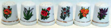 Collection of 6 SEWING THIMBLES With Different Colorful FLOWER DESIGNS