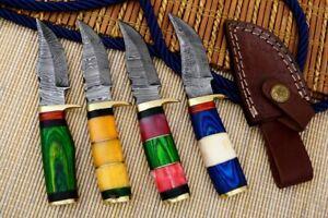 """6"""" MH KNIVES CUSTOM HANDMADE DAMASCUS STEEL LOT OF 4 HUNTING/SKINNER KNIFE LOT6l"""