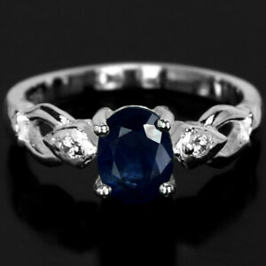 GENUINE AAA BLUE SAPPHIRE OVAL & WHITE CZ STERLING 925 SILVER RING SIZE 7.25