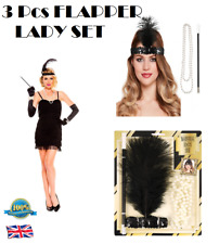 3Pcs FLAPPER LADY SET Retro Party Set Gatsby Flapper Charleston 1920 Fancy Dress