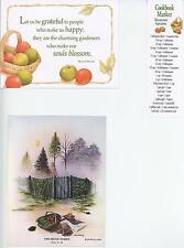 1 APPLES DAPPLE CAKE RECIPE CARD 1 VINTAGE VEGETABLE GARDEN NOTE CARD ART PRINT