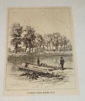 1885 magazine engraving ~ FERRY NEAR MILES CITY, Montana