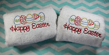 Personalized Embroidered Pink Happy Easter Egg White Hand Towel 100% Cotton Lomb