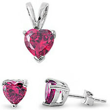 "BEST SELLER GIFT! Ruby Heart .925 Sterling Silver Earrings & Pendant Set .5"""