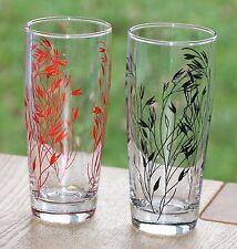 RETRO KITSCH TALL DRINKING GLASSES RED & BLACK OAT PLANT DESIGN - PAIR