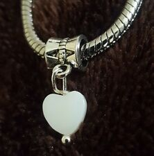 Mini White Shell Heart Dangle Bead fit Silver European Charm Bracelets