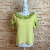 MOISELLE Size 10 Top Blouse Silk Lime Yellow Short Sleeve Dressy Work Ruffle