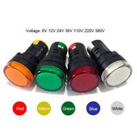 LED Pilot Panel Indicator Signal Warning Light Lamp AC/DC 6/12/36/110/220/380V