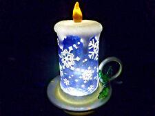 Hallmark Gift  Bag  Lighted  Blue  Candle Snow Globe  Swirling Glitter  NEW
