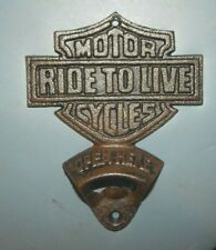 """Ride To Live Motor Cycles"" Bottle Opener Cast Iron Wall Mount Harley Man Cave d"