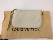 LOUIS VUITTON Small White Leather Riveted Monogram Key Pouch Coin Card Wallet