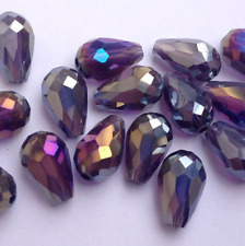 20pcs purple  ab 8x12mm Teardrop Glass Faceted Loose Crystal Spacer Beads ,