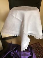 Vintage table linen - white cotton tablecloth crocheted border 73 cm sq