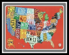 "10"" x 8"" AMERICA AMERICAN STATES LICENCE PLATES ROUTE 66 METAL PLAQUE SIGN 1502"