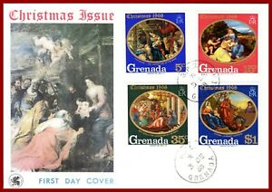 Grenada 1968 Christmas, Noël, painting by Botticelli, Titian, etc FDC SG 226-229
