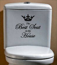 WC Best Seat House Funny Humor Vinyl Sticker Decal Black Decor Toilet Bathroom