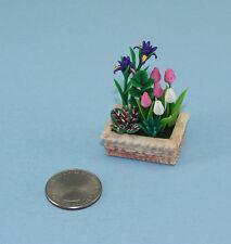 NICE Dollhouse MINIATURE Iris & Tulip Flowers in a Resin Planter #WCFL79