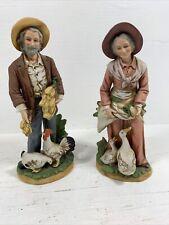 Vintage Homco Porcelain Farmer & Wife Figurine Set Of 2, #1477