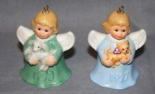 1997 and 1998 Goebel Christmas Angel Ornaments Cat & Lamb
