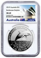 2019 Australia 1 oz Silver Bottlenose Dolphin $1 NGC MS69 Exclusive SKU57507