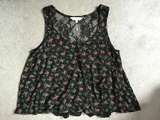 NEW LOOK BLACK CAMISOLE WITH PINK ROSES & BLACK LACE BACK - SIZE 10