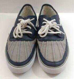 POLO RALPH LAUREN Parkstone Blue Gray Leather Boat Deck Shoes Mens Sz 7D