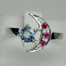 LOVABLE! BLUE SAPPHIRE 5MM. & RUBY STERLING 925 SILVER HALF MOON RING SIZE 6.5