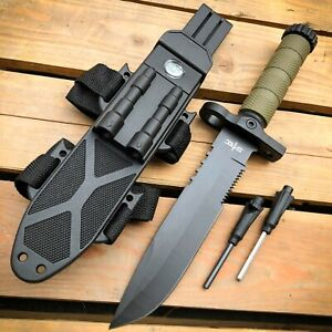 """12.5"""" MILITARY TACTICAL Hunting FIXED BLADE SURVIVAL Knife w Fire Starter Army"""