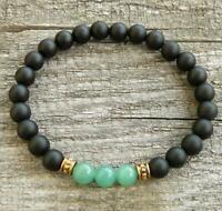 8mm obsidian Bracelet Bless Stretchy 7.5inches Wrist Chakas Reiki Meditation